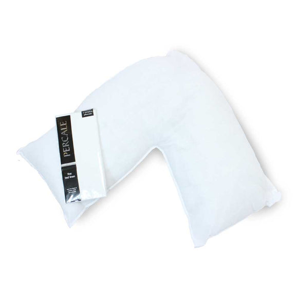 V Shaped Polycotton Pillow and Pillow Case