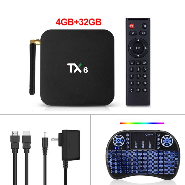 TX6 Android 9.0 Smart TV Box Android Box Allwinner H6 4GB RAM 32G ROM Support 4K H.265 2.4G/5G WiFi BT4.1 Media Player Tanix TX6