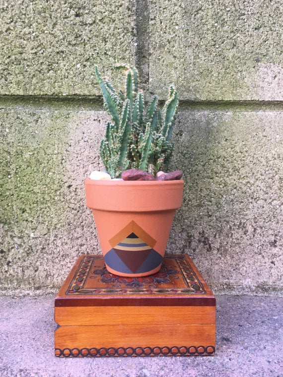 Hand Painted Boho Terra-Cotta Pot