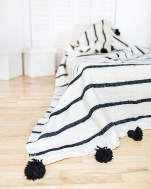 Pom Pom Cotton Lines Berber Throw