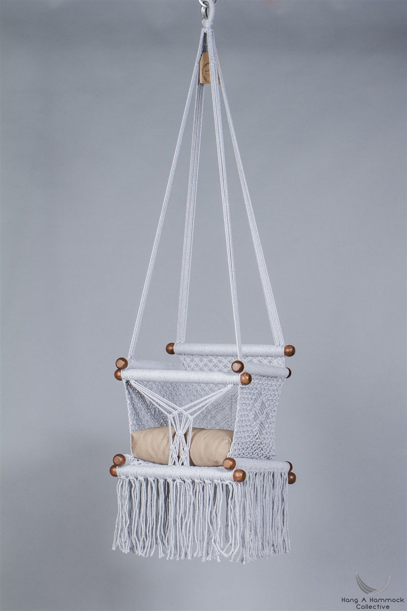 Levi Madero Macrame Swinging Baby Chair-Gray