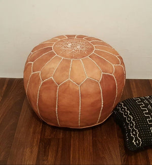 Rabat Genuine Leather Light Camel Pouf