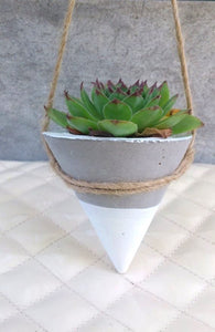 James Concrete Planters White Dipped Cone