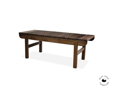 Handcrafted Walnut Slatted Bench