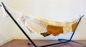 Toasted Coconut 2 Tone Double Hammock + Fringe