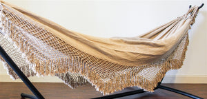 Natural Cream Double Hammock + Fringe