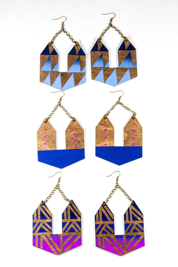 Vibrant Handpainted DoorKnocker Earrings