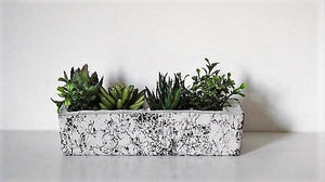 Minimalist Marbled Rectangle Double Planter