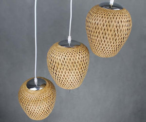 Topical Handwoven Bamboo Pendant Lights-Set of 3