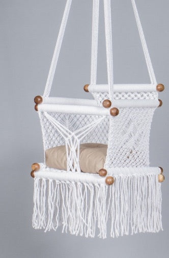 Levi Madero Macrame Swinging Baby Chair-White