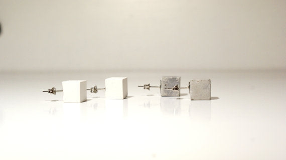 Cubed Minimalist Mod Stud Earrings