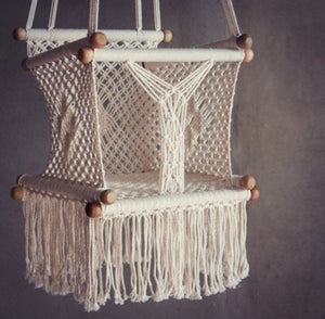 Levi Madero Macrame Swinging Baby Chair-Cream