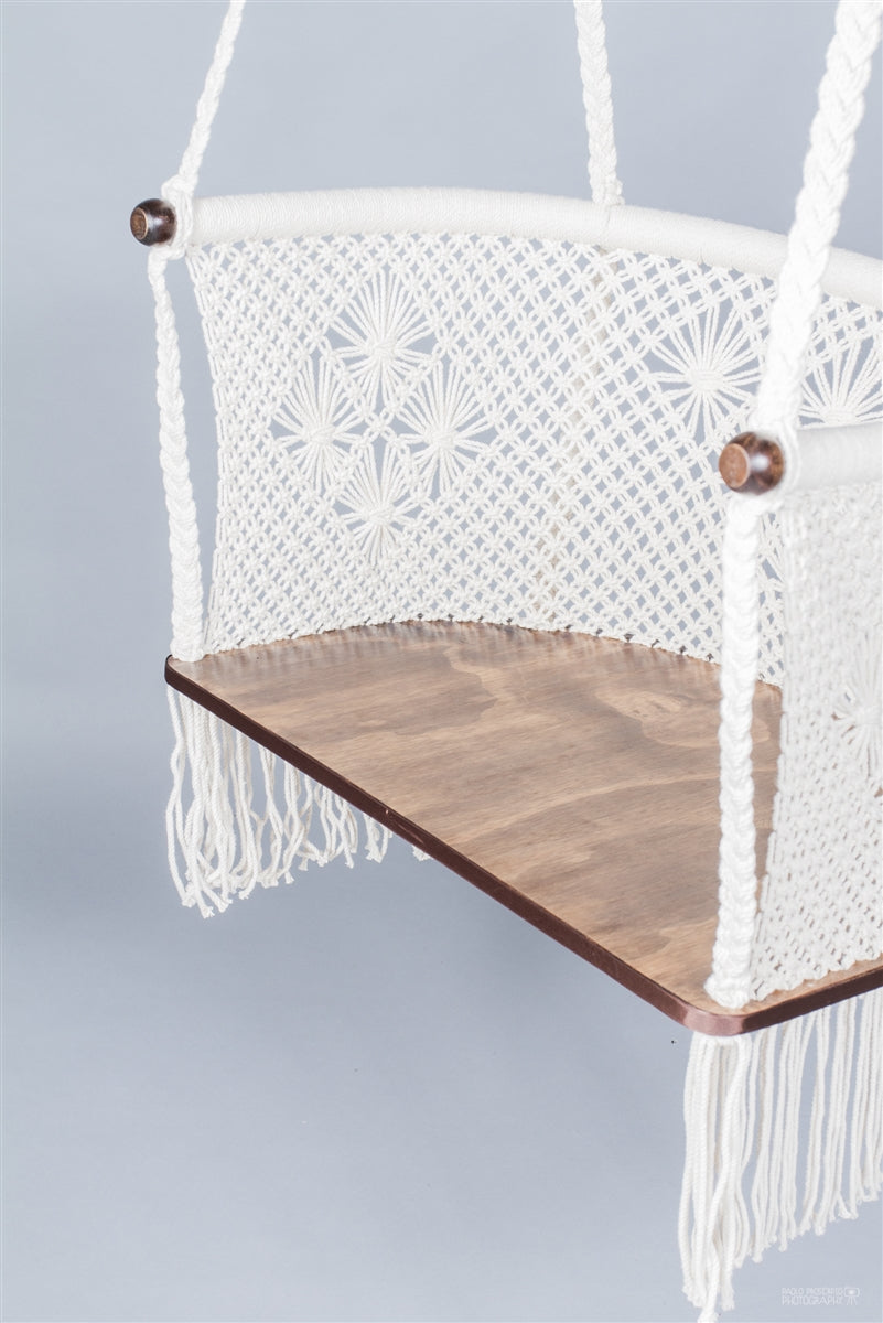 Odette Macrame Hanging Chair-Cream