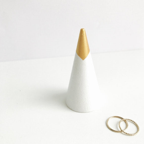 Gold Dipped Tip White Ring Cone