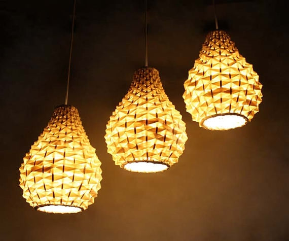 Pineapple Bamboo Basket Pendants-Set of 3