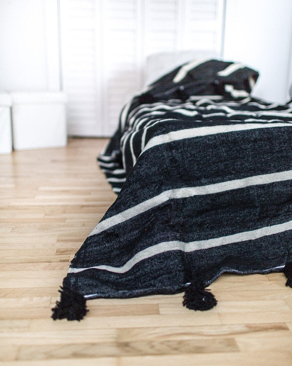 Pom Pom Noche Stripes Berber Throws