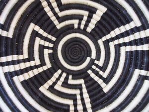 Little Sister Black & White Sisal Sweetgrass Basket - 12""