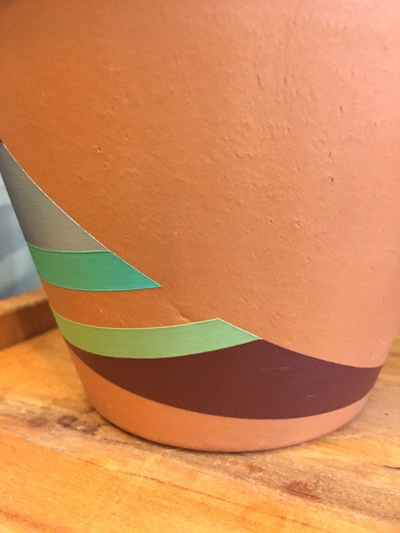 Hand Painted Boho Terra-Cotta Pots-Set of 3