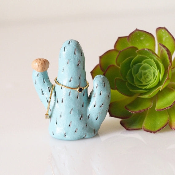 Patina Color Cactus Ring Holder