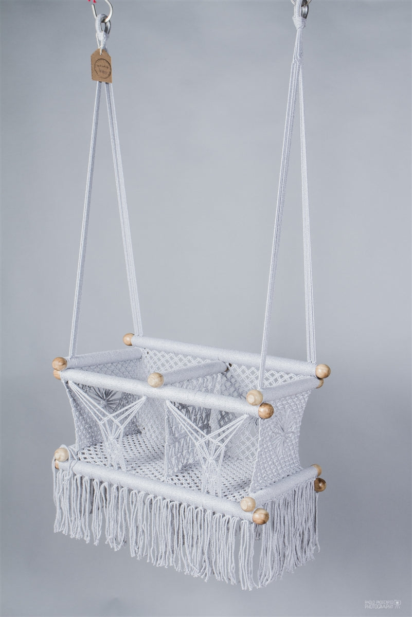 Grey Macrame Twin Baby Hanging Chair