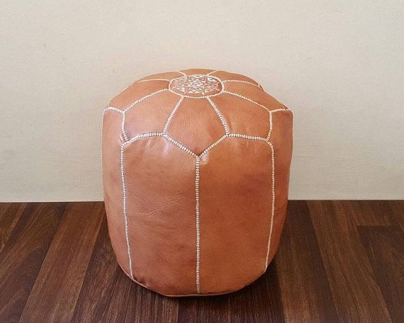 Camel Tabouret Leather Pouf