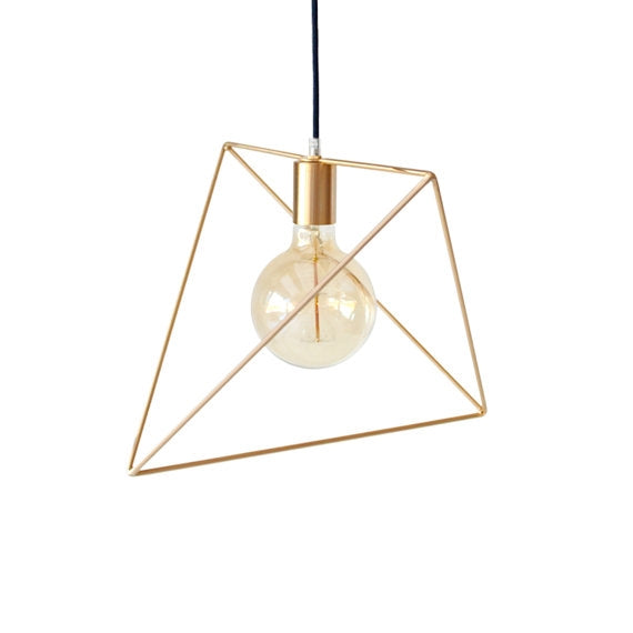 Gold Minimalist Geo Cage Hanging Light