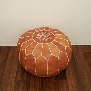 Rabat Genuine Leather Burnt Camel Pouf