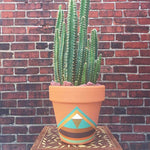 Hand Painted Boho Terra-Cotta Pot Turq