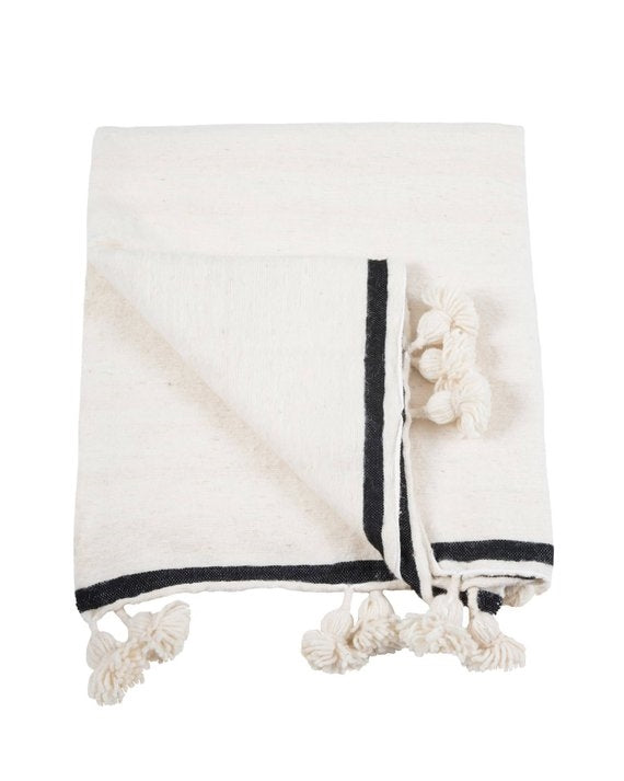Pom Pom One Striped Berber Throws