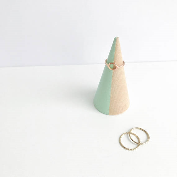 Mint Striped + Beechwood Ring Cone