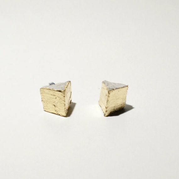 Triangle Gold + Gray Minimalist Mod Studs