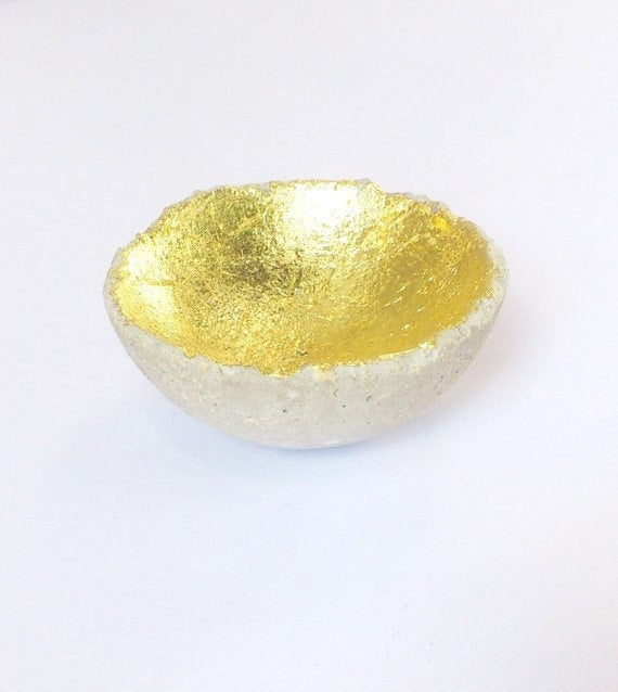 Concrete Gold Leaf Ring Dish