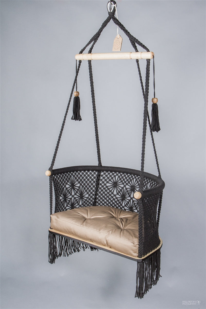 Odette Macrame Hanging Chair - Black