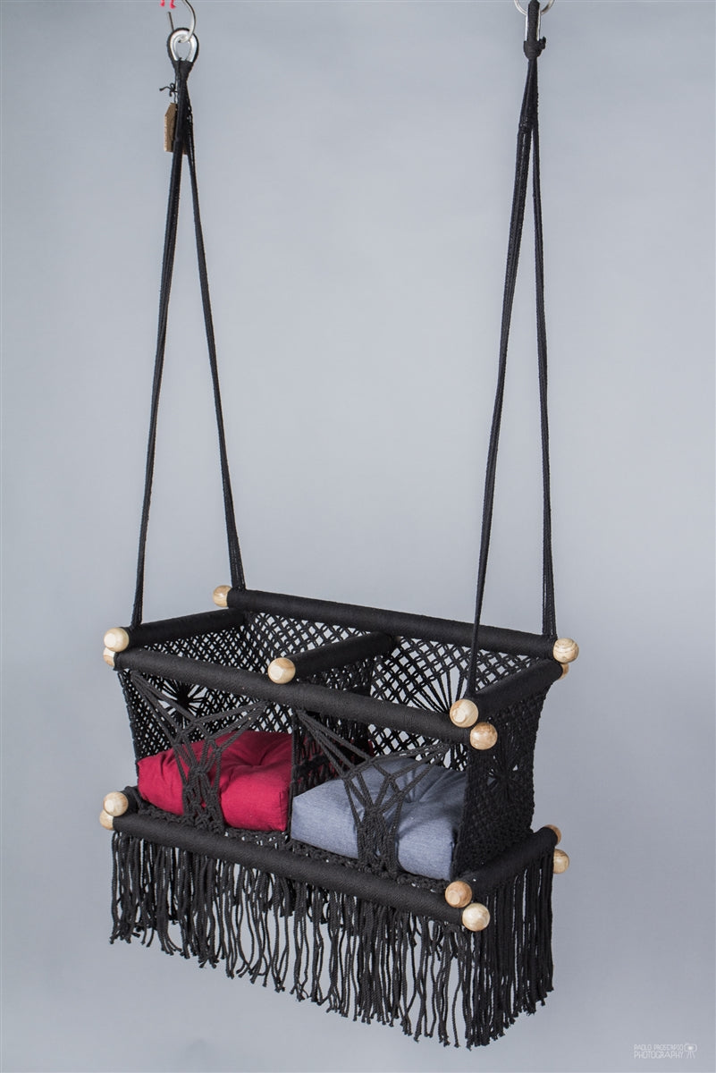 Black Macrame Twin Baby Hanging Chair