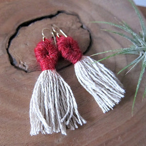 Red Tassel FiberArt Fringe Earrings