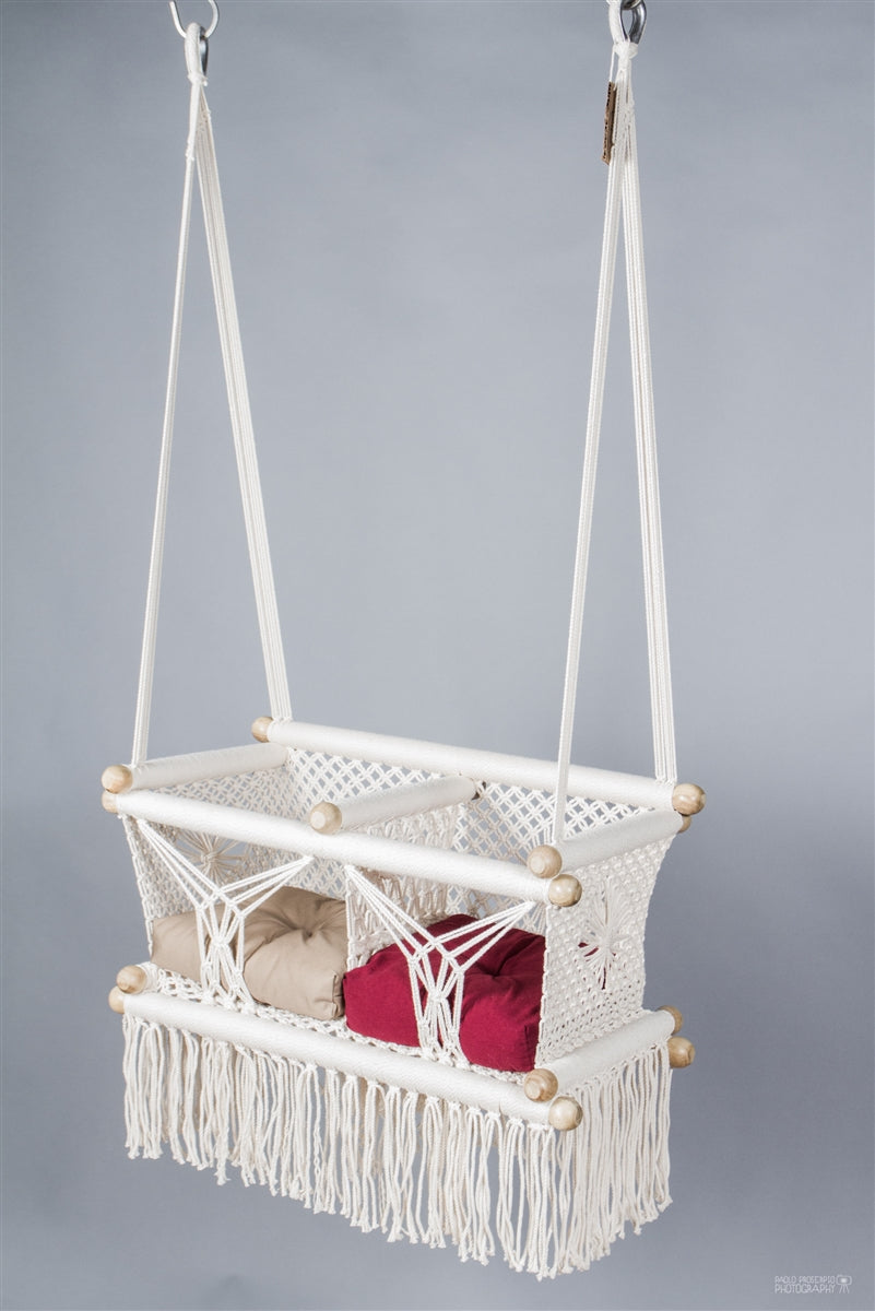 Cream Macrame Twin Baby Hanging Chair