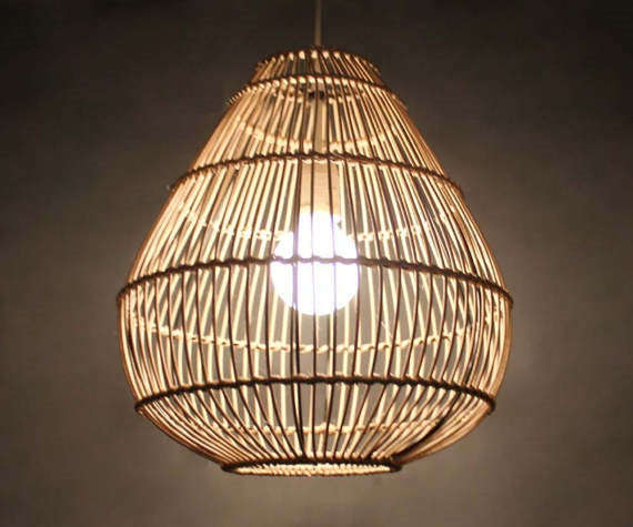 Rounded Rattan Natural Basket Pendant