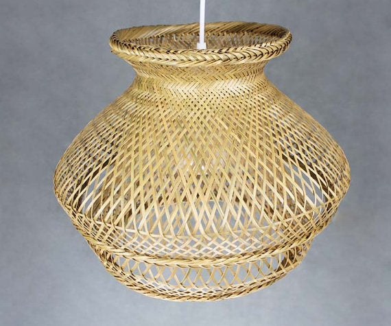 Woven Bamboo Double Shaded Pendant