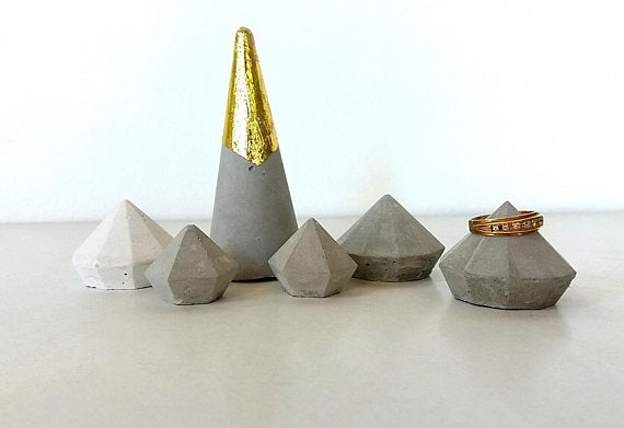 Diamond Cone Cone Rings-set of 6
