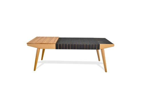 Black Elongated Webbed Strap Bench