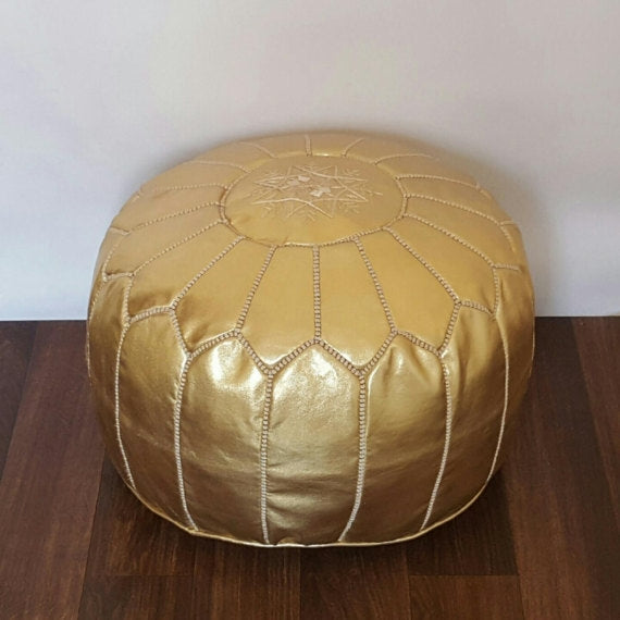 Golden Medina Leather Pouf