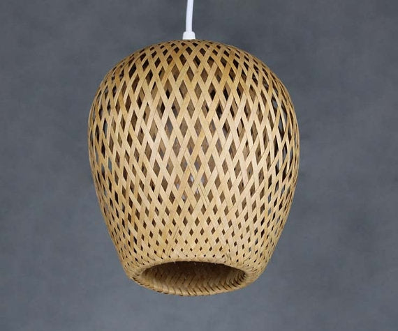 Double Handwoven Bamboo Pendant Light