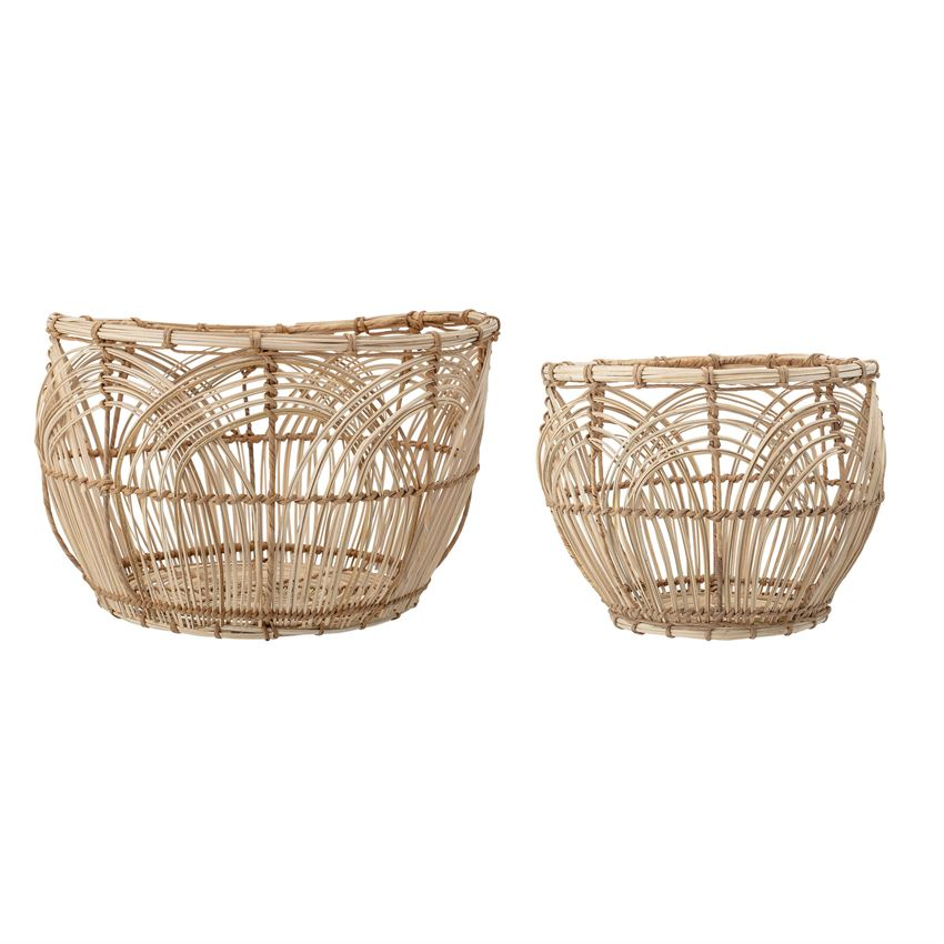 Natural Rattan Baskets-Set of 2