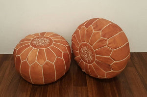 Rabat Genuine Leather Burnt Camel Poufs-Set of 2