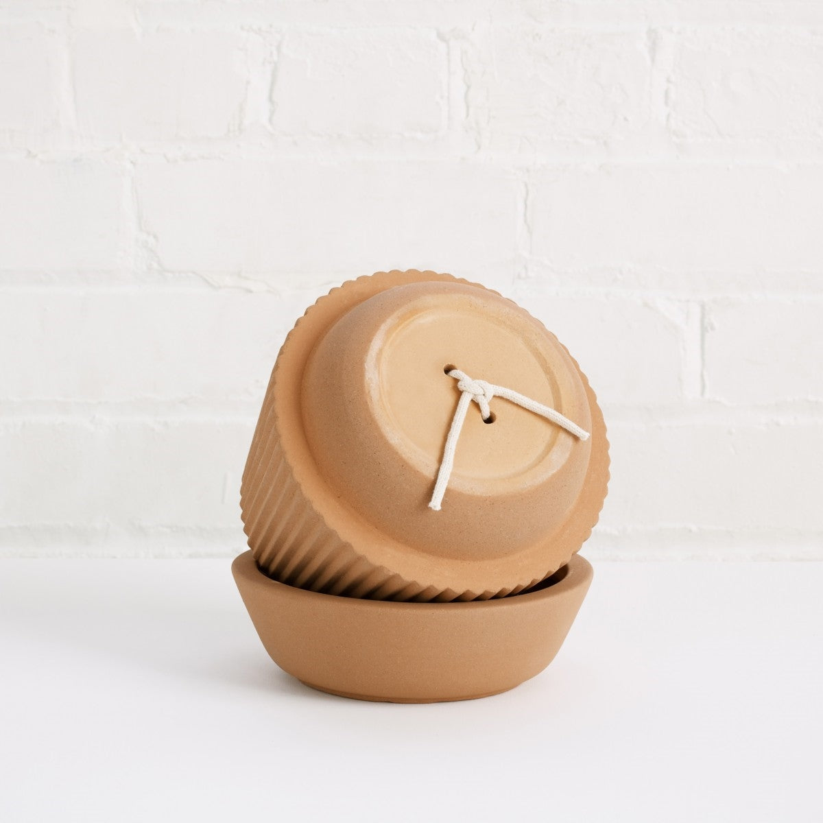 Earthenware Pleated Vase + Dish + Planter