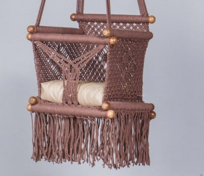 Levi Madero Macrame Swinging Baby Chair-Brown