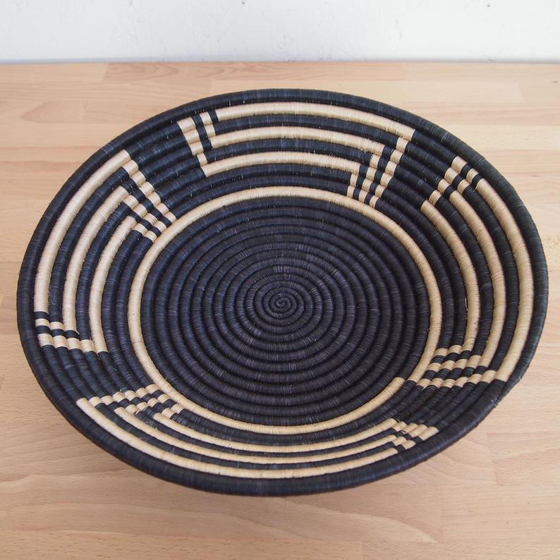 Black & Tan Sisal Sweetgrass Basket - 16""