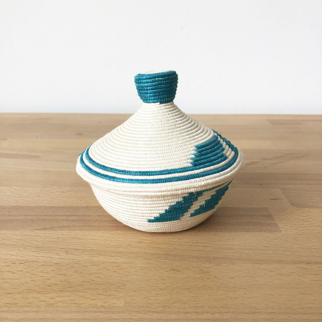 Teal Hand-Dyed African Lidded Basket