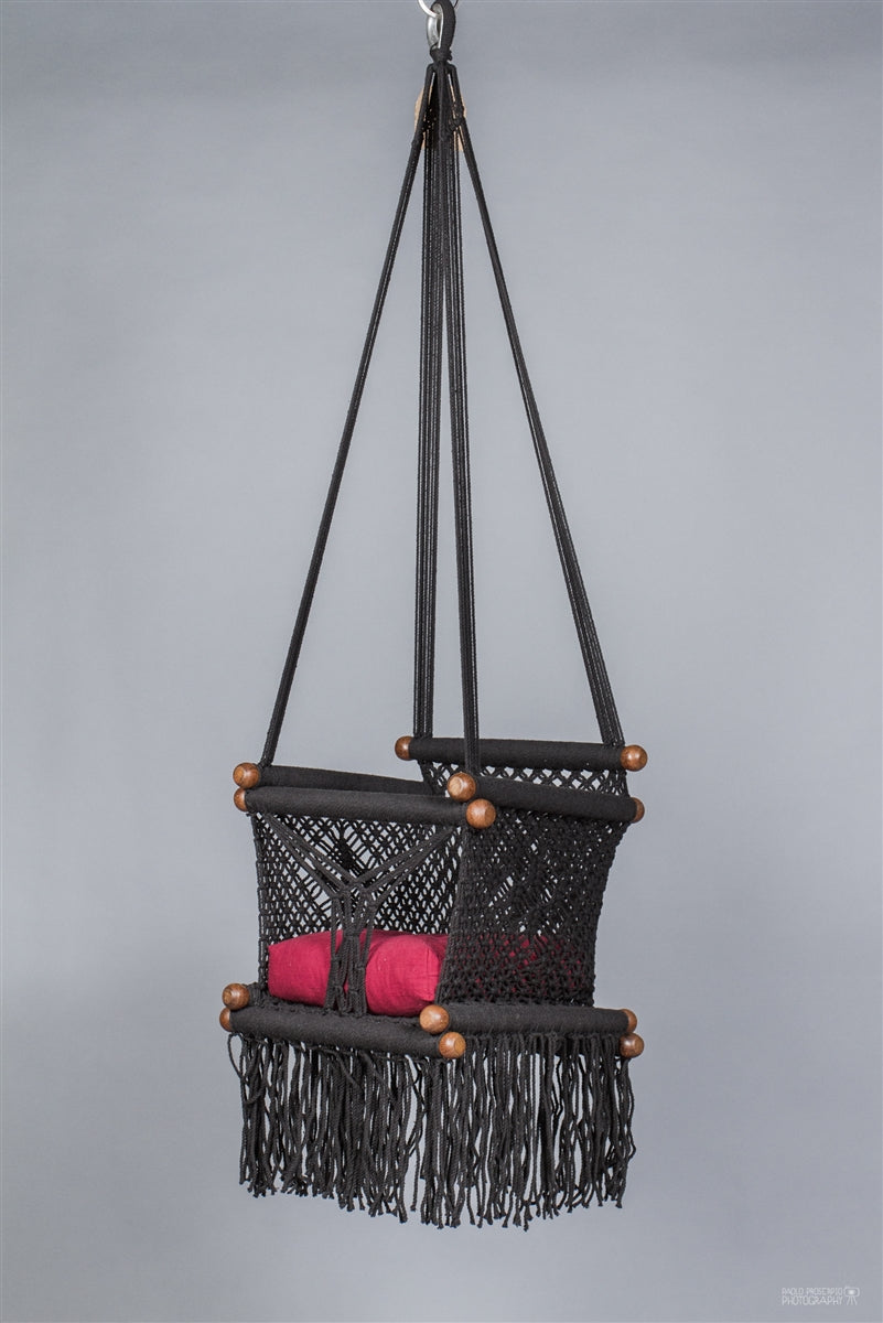 Levi Madero Macrame Swinging Baby Chair-Black