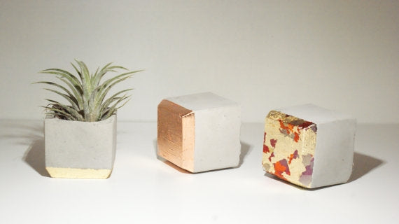Croatian Concrete Painted Planters Set of 3
